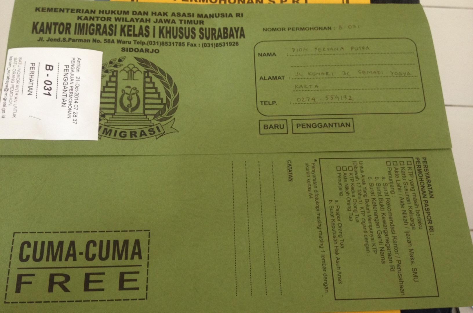 formulir imigrasi untuk epaspor