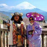 berkimono dan berbaju samurai di iyashi no sato