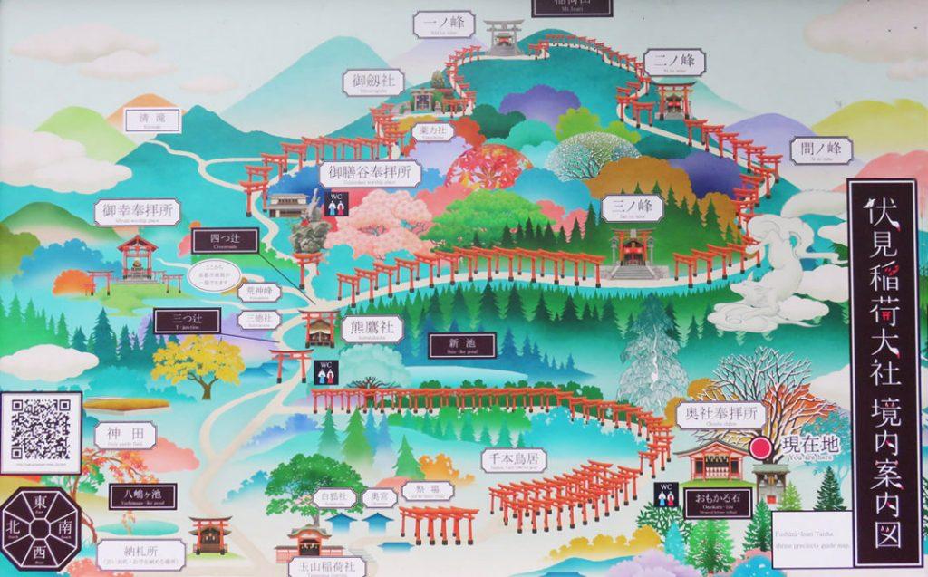 Peta Fushimi Inari Taisha Kyoto Jepang