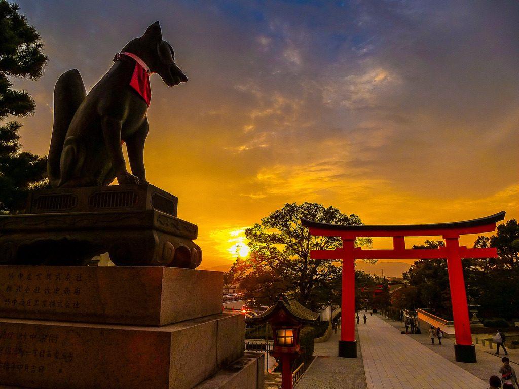 Sunset Fushimi Inari Taisha Kyoto Jepang